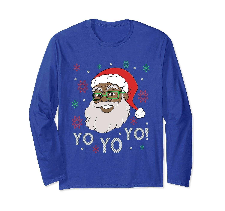 Yo Yo Yo Fun Black Santa Claus Christmas Long Sleeve T-shirt-mt