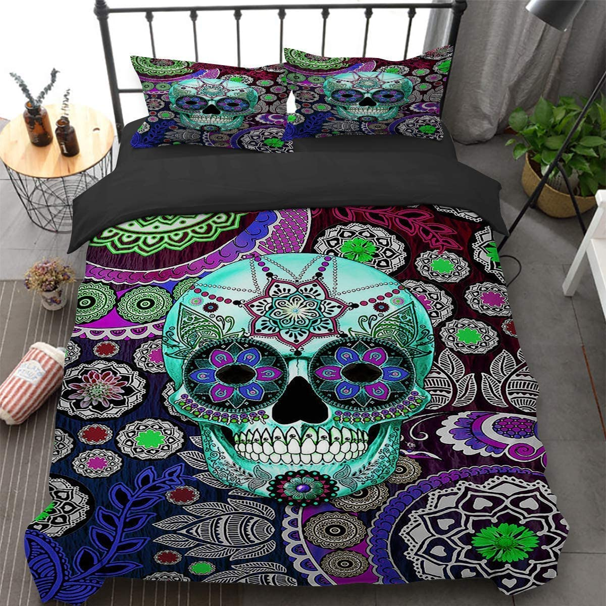 "Skull Bedding Set 3D Printed Bohemia Floral Skull Duvet Cover with 2 Pillowcases Flowers Pattern Bedding Set with Zipper Closure Luxury Reversible Quilt Cover Sets Queen Size 90"" x 90""(Not Comforter)"