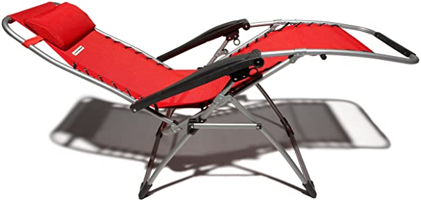 Amazon Strathwood Basics Anti Gravity Adjustable Recliner Chair Red With Silver Frame Patio Lounge Chairs Garden Outdoor