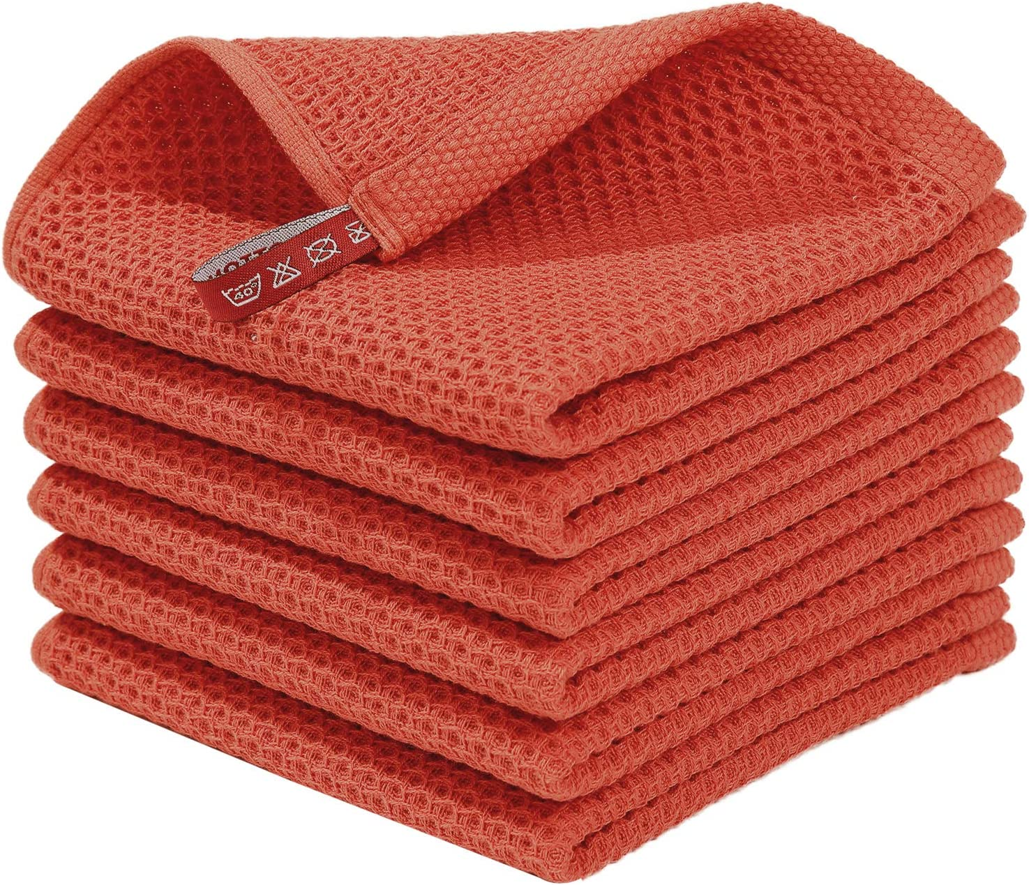 Homaxy 100% Cotton Waffle Weave Kitchen Dish Cloths, Ultra Soft Absorbent Quick Drying Dish Towels, 12x12 Inches, 6-Pack, Brick Red