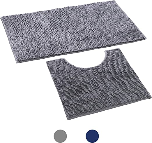 Machine Washable Bath Mat Toilet Mat,1 Microfiber Shaggy Carpet Dark Gray Soft Plush Anti-Slip Shower Rug Super Absorbent mats KeePaI Bathroom Rugs Luxury Chenille 2-Piece Mat Set