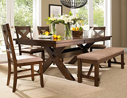 Roundhill Furniture Karven 6-Piece Solid Wood Dining Set with Table, 4  Chairs and Bench