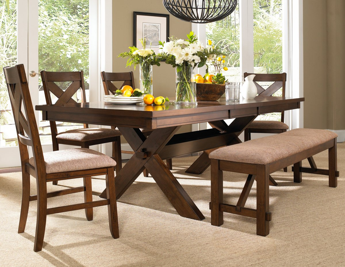 Amazon com roundhill furniture karven 6 piece solid wood dining set with table 4 chairs and bench table chair sets