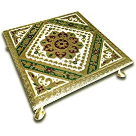 Craft Zone Meenakari Puja Bajot/Table/Chowki ganpati sinhasan Pooja, Chaurang Subh Labh Design, 10 x 10 inch(02 Bajot 10 * 10)