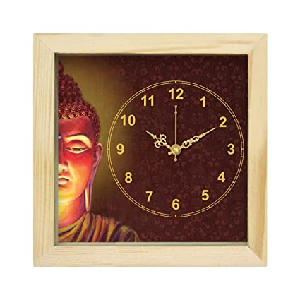 6727ebd31eed Buy art tantra Glass and Natural Wooded Frame Half Buddha Face Canvas  Painting Square Shape Wall Table Clock with Sweep Mechanism (Multicolour) Online  at ...
