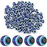 SAVITA 100pcs Blue Evil Eye Beads Eyeball Beads Handmade Resin Beads Charms for DIY Bracelets Necklace Jewelry Making (10mm/0