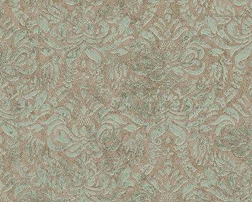 as cration tapete bohemian mustertapete klassisch orientalisch braun grn metallic - Muster Tapete