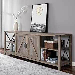 """Amerlife 68"""" TV Stand Wood Metal TV Console Industrial Entertainment Center Farmhouse with Storage Cabinets and Shelves for TVs Up to 78"""", Rustic Gray Wash"""