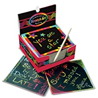 Deals on 125-Ct Melissa & Doug Scratch Art Box of Rainbow Mini Notes