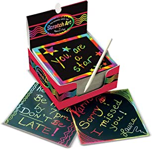 Melissa & Doug Scratch Art Box of Rainbow Mini Notes - The Original (Arts & Crafts, Wooden Stylus, 125 Count, Great Gift for Girls and Boys - Best for 4, 5, 6 Year Olds and Up)