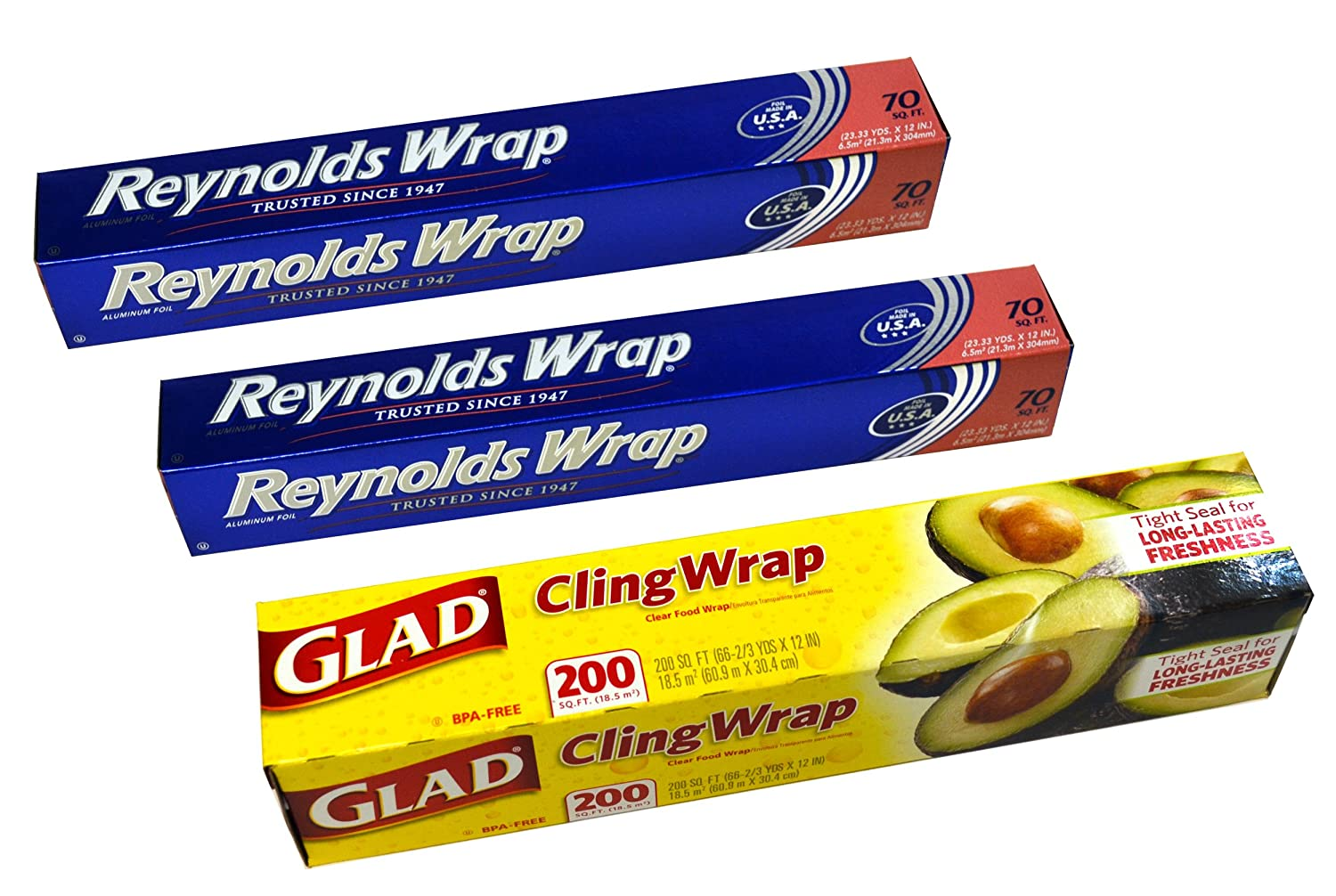 Two Reynolds Wrap Aluminum Foil (140 Sq Ft Total) & One Glad Cling Wrap (200 Sq Ft) Bundle
