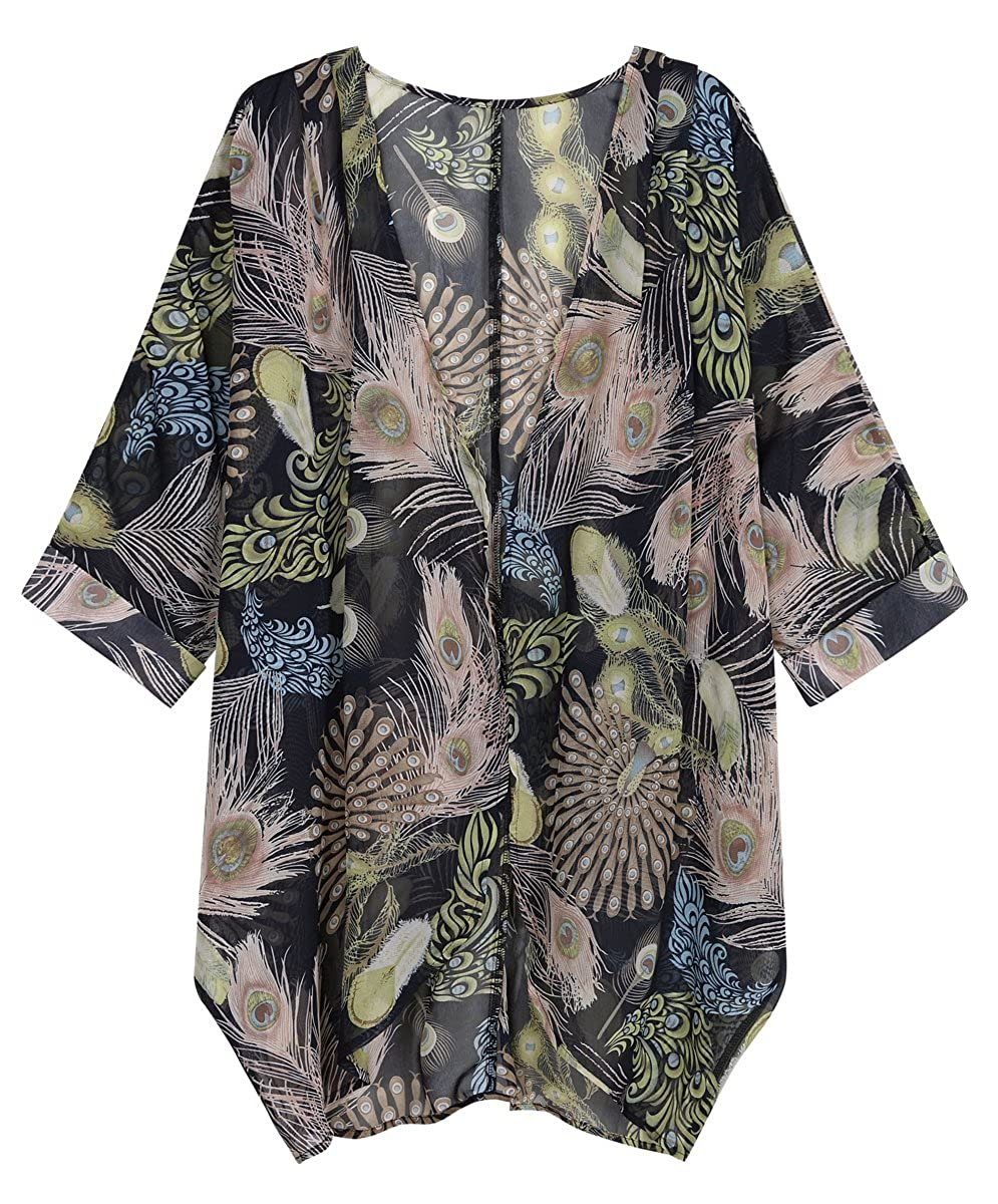 Vintage Coats & Jackets | Retro Coats and Jackets OLRAIN Womens Floral Print Sheer Chiffon Loose Kimono Cardigan Capes $18.99 AT vintagedancer.com