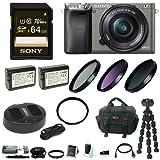 Sony Alpha a6000 Mirrorless Camera w/ 16-50mm Lens & 64GB Accessory Bundle - Graphite