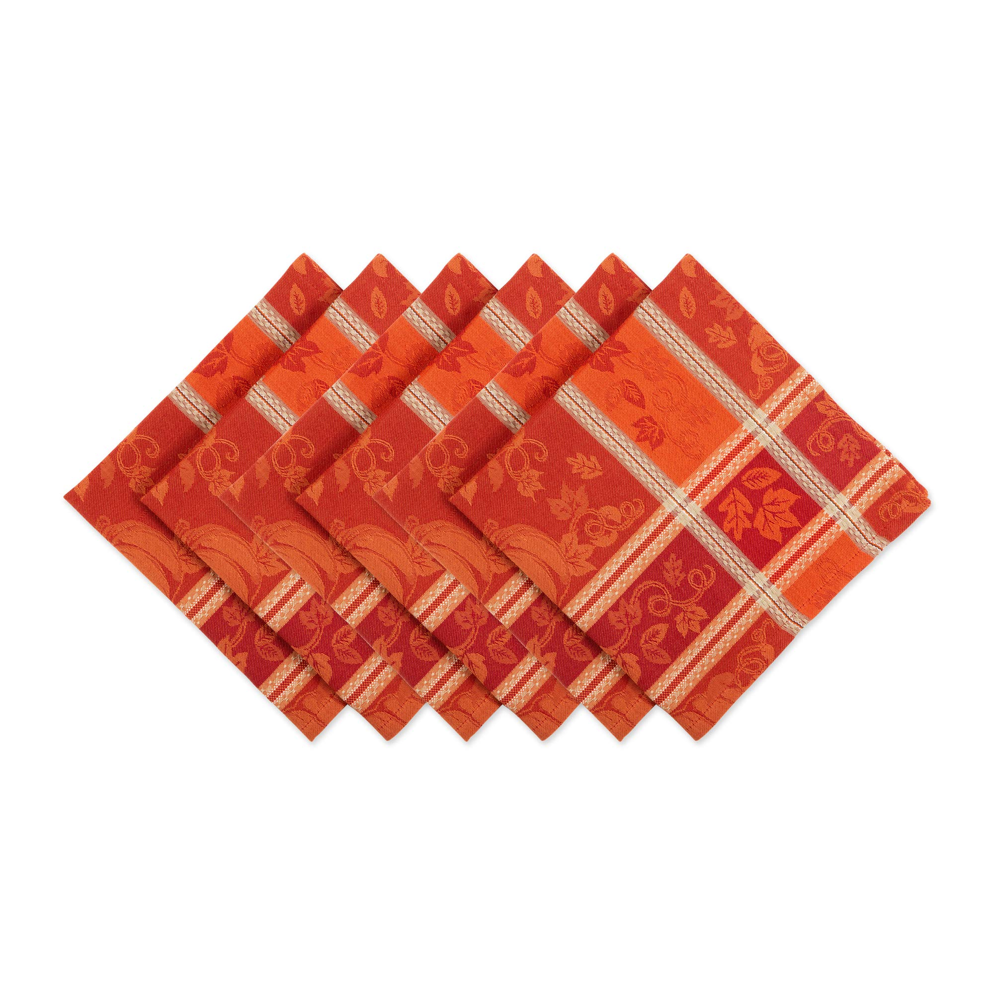 DII CAMZ11221 Oversized Cotton Napkins, Perfect for Dinner Parties, Christmas, Holidays, or Everyday Use, S/6, Pumpkin Vine by DII