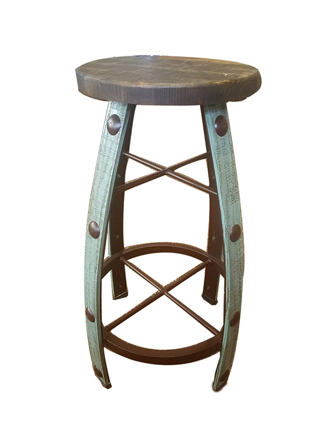 Stupendous Rustic Bar Stool Stave Wine Barrel Wood Seat Ships Already Assembled 30 Inch Turquoise Barrel Style Pdpeps Interior Chair Design Pdpepsorg