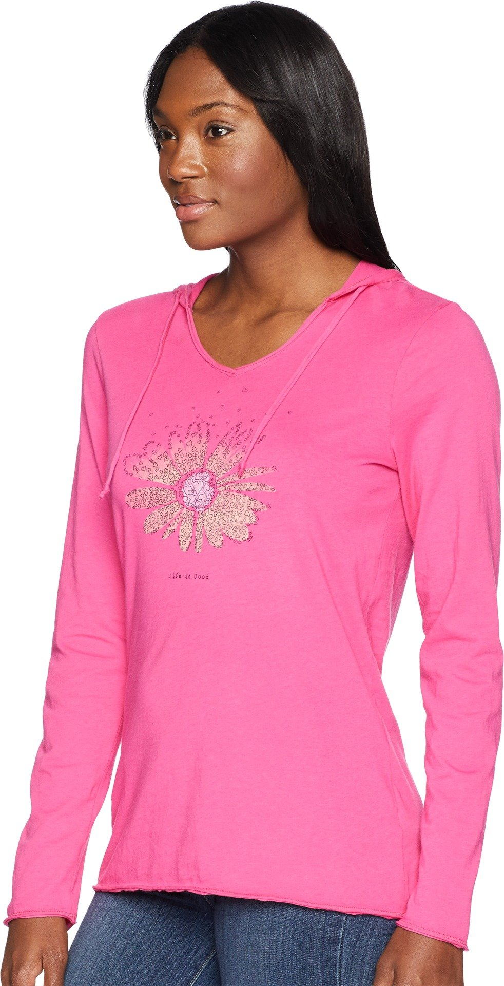 Life is Good Womens Hooded Smooth Longsleeve tee Daisy Love, Fiesta Pink, Large by Life is Good (Image #2)