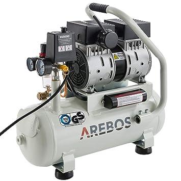 Arebos Silent - Compresor silencioso (500 W, 12 litros, sin aceite, 54