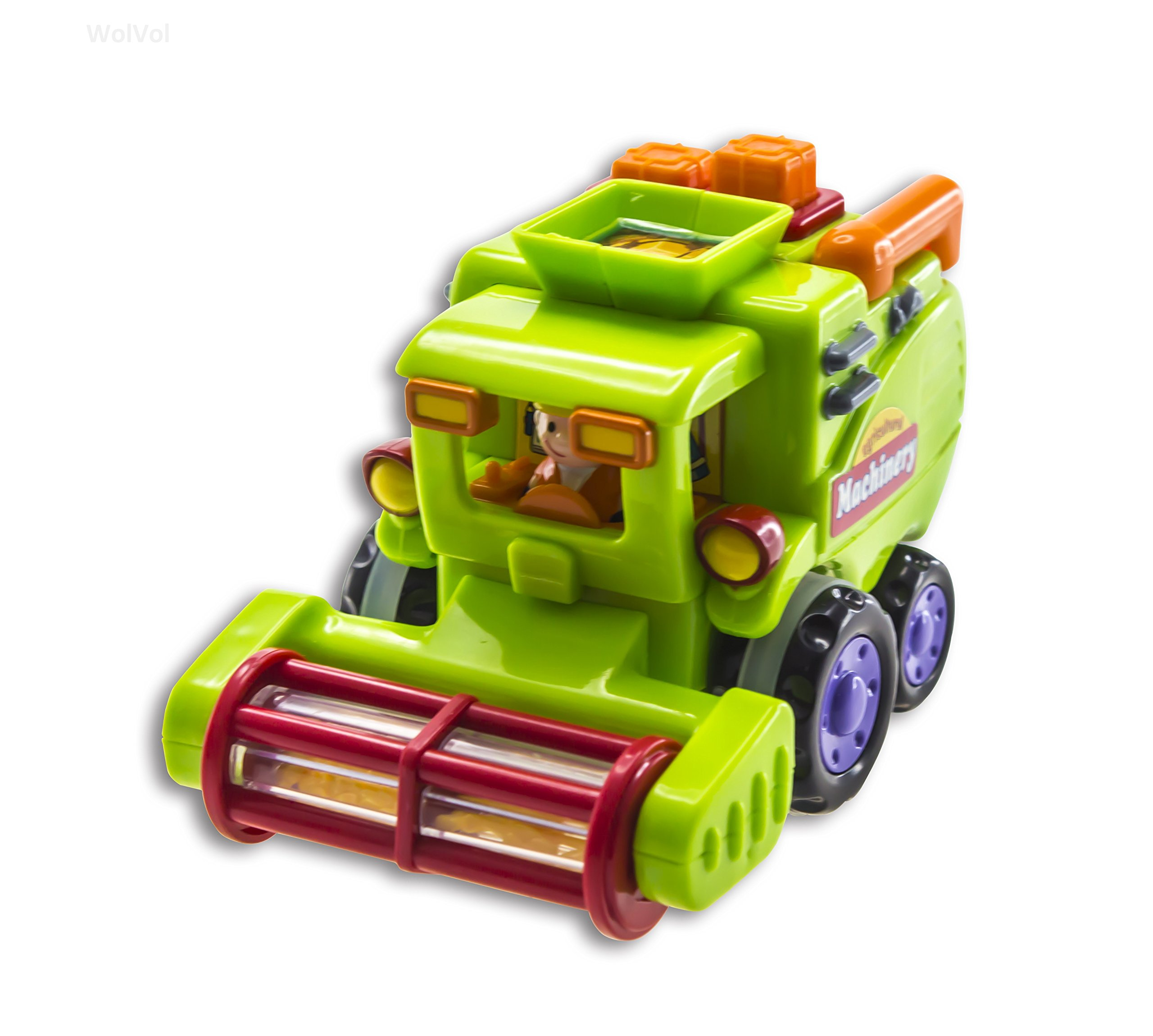 WolVol (Set of 3) Push and Go Friction Powered Car Toys for Boys - Street Sweeper Truck, Cement Mixer Truck, Harvester Toy Truck (Cars Have Automatic Functions) by WolVol (Image #4)