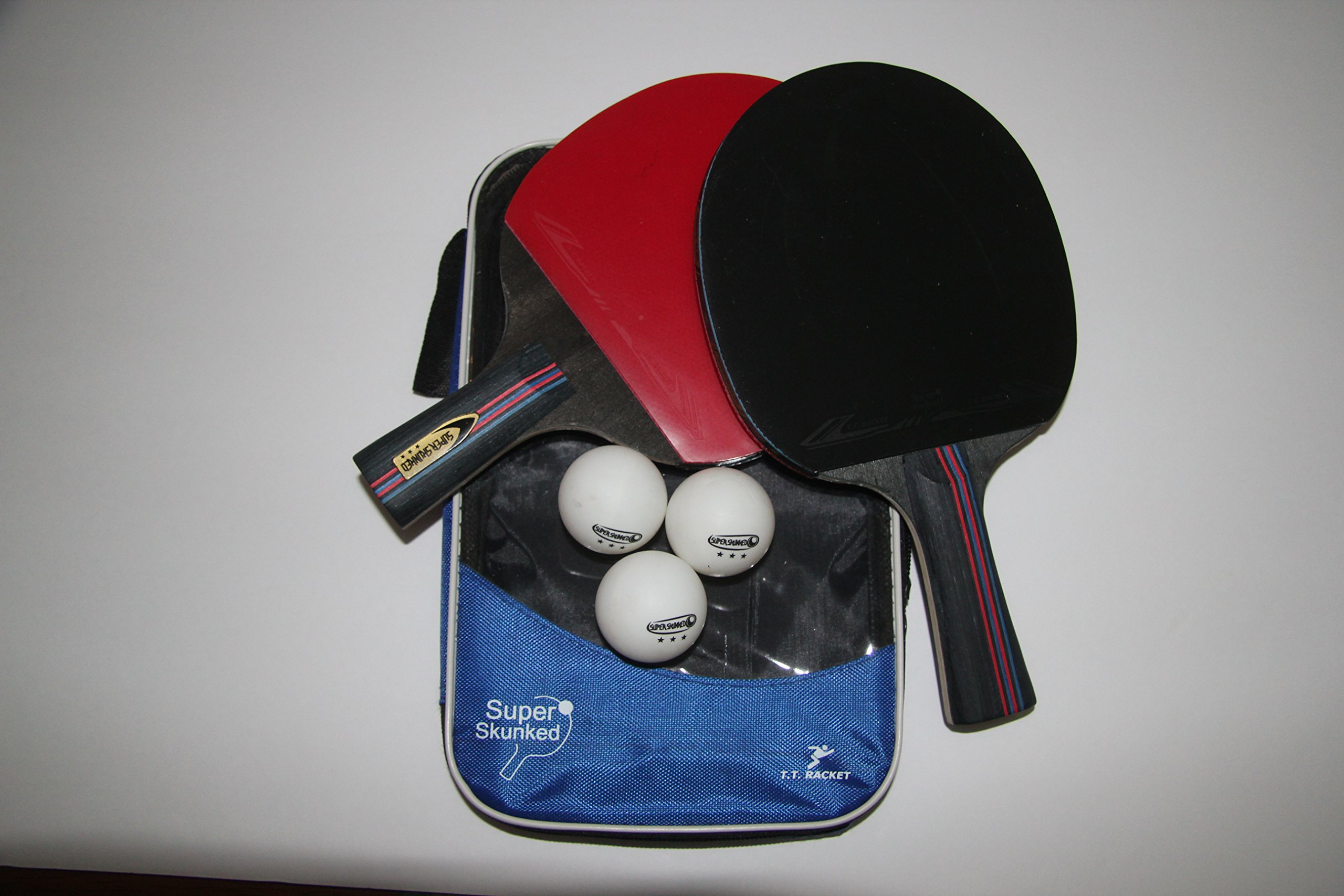 Super Skunked ping pong paddle/racket set- professional wood set with carry case plus 3 table tennis balls- practice/training- ideal for home/professional games- portable- soft sponge rubber- pro pack