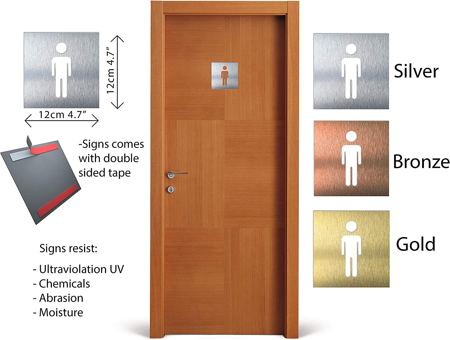 Male Decal signe de salle de bain m/âle- men symbol Aluminium Male Bathroom sign Men restroom plaque toilet decoration- indoor /& outdoor- door and wall WC signage Signe de toilettes
