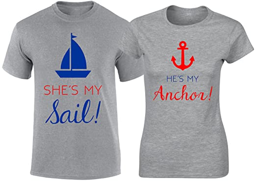 My Sail My Anchor Couple Matching T shirts Valentine Christmas Wedding Gift Tee