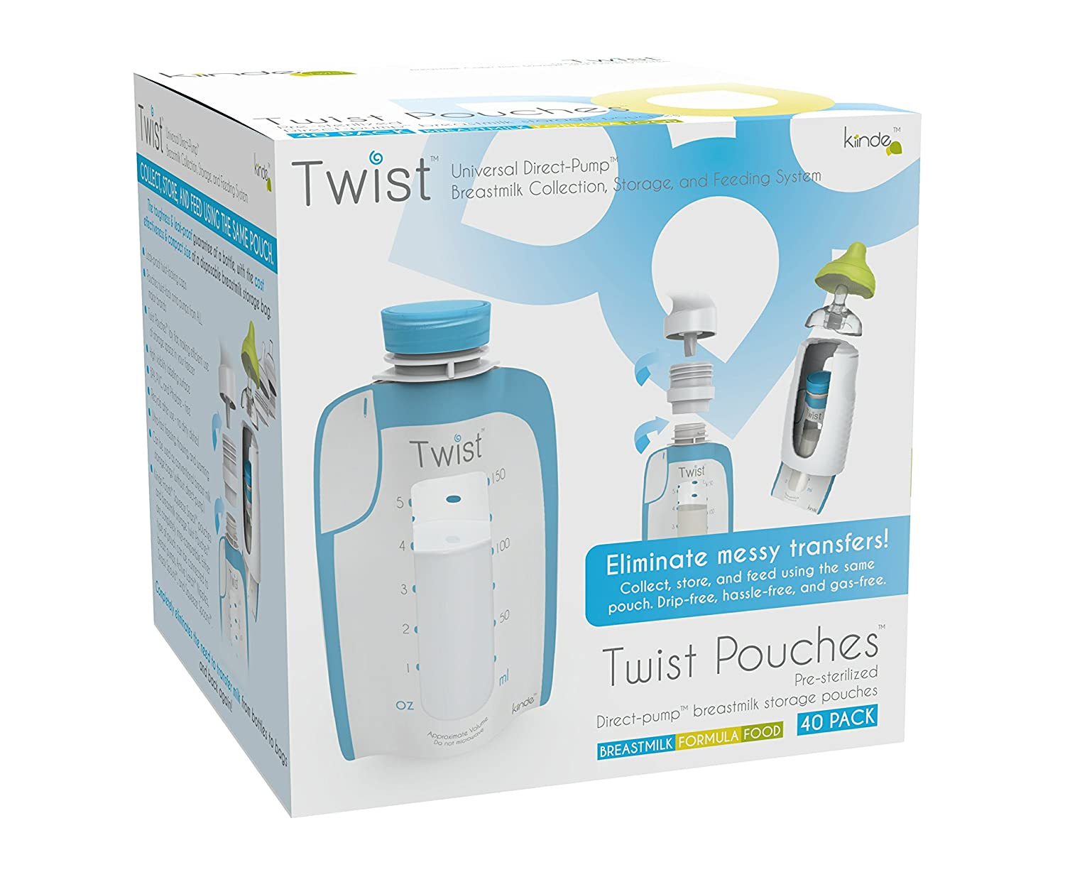 Twist Pouches - Direct-pump, Twist-cap Breastmilk Storage Bags - 40 Count (includes caps) Kiinde