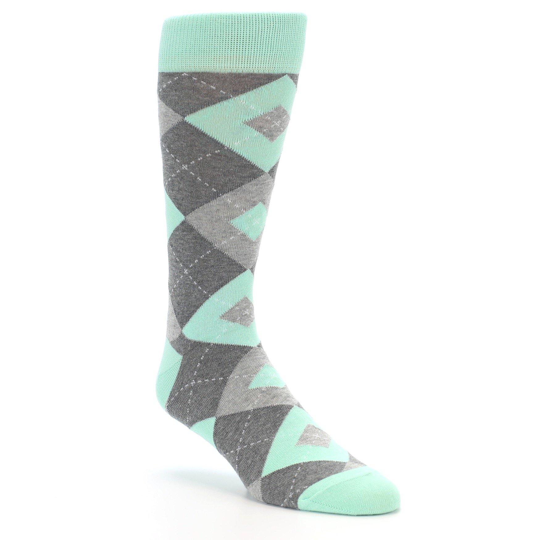 Statement Sockwear Argyle Wedding Groomsmen Men's Socks, Mint Gray Wedding Groomsmen, 8-12