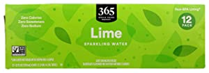 365 by Whole Foods Market, Sparkling Water, Lime,12 Fl Oz (Pack of 12)
