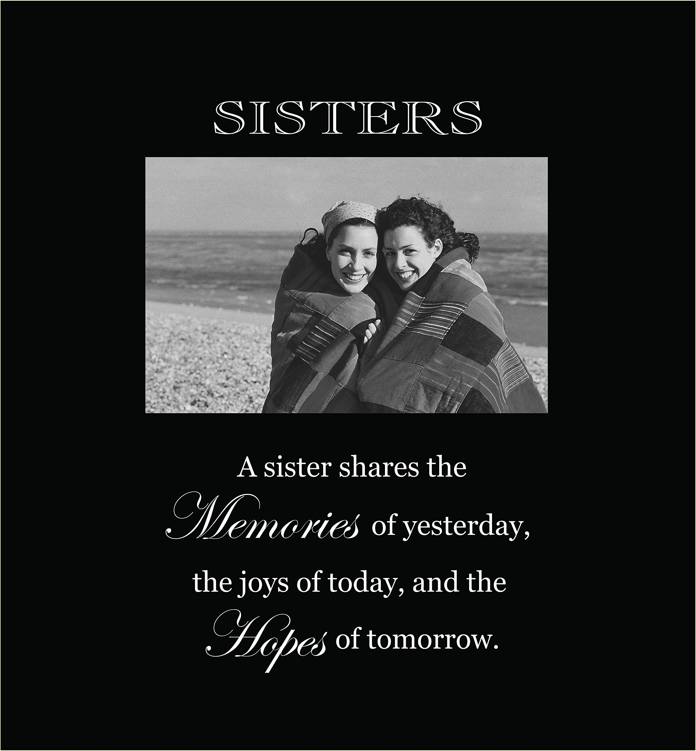 Infusion Gifts 3006-LB Sisters Engraved Photo Frames, Large, Black