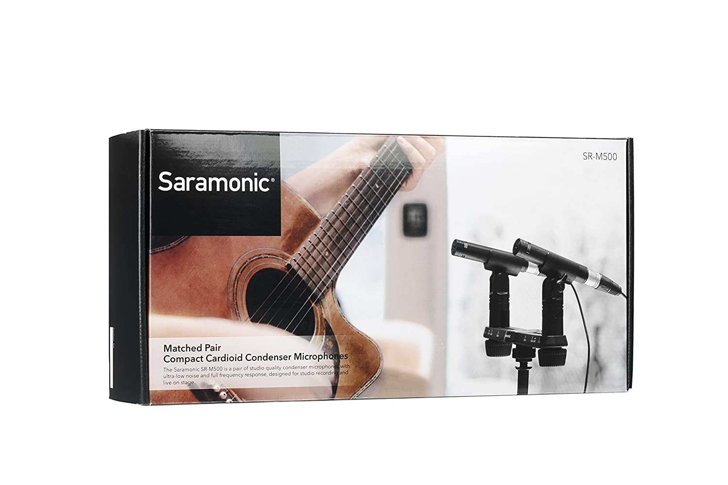 Saramonic Sr M500 Matched Pair Of Compact Cardioid Studio Condenser Ultra Low Noise Microphone Microphones With Windshields Mic Clips And Spacing Bar Mounting Bracket For Vocal