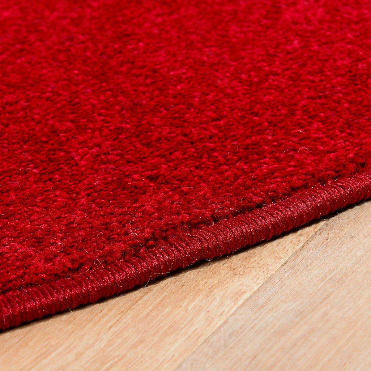 Havatex Teppich Kräusel Velour Burbon rund - - - 16 moderne sowie klassische Farben   schadstoffgeprüft pflegeleicht & robust   ideal für Wohnzimmer, Farbe Rot, Größe 180 cm rund B00FQ10IYQ Teppiche 361a55