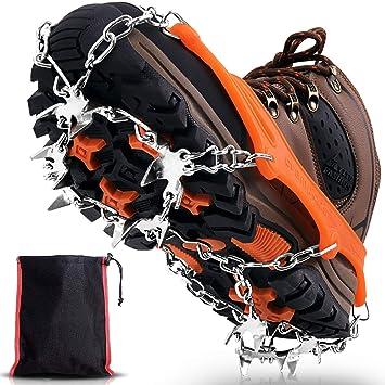 Winline Crampones, 19 Garras de Dientes Crampones Cubierta Antideslizante de Zapatos con Cadena de Acero Inoxidable para Excursiones Pesca Escalada ...