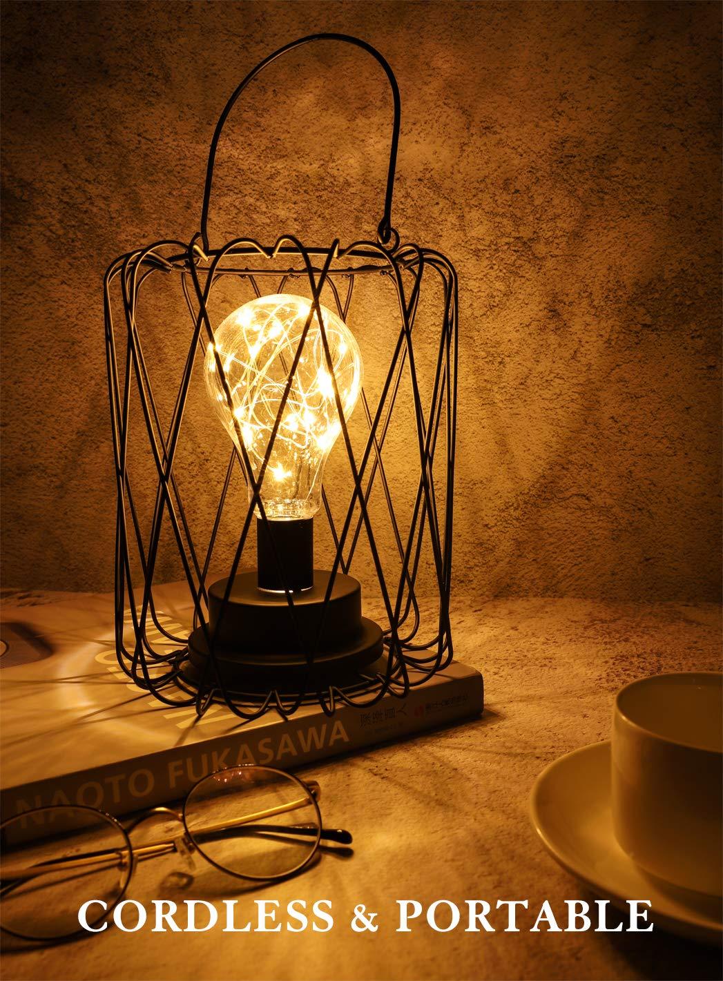 Lampada da Tavolo Lewondr Lampada Scrivania Lampada Luce LED Dimmerabile 4-5V Protezione Occhi con 3 Batterie AAA Tavolo Officio Illuminazione per Casa Interni Rombo Nero Lampada Officio