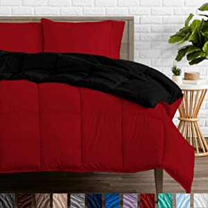 Bare Home Reversible Comforter - King/California King - Goose Down Alternative - Ultra-Soft - Premium 1800 Series - Hypoallergenic - All Season Breathable Warmth (King/Cal King, Black/Red)