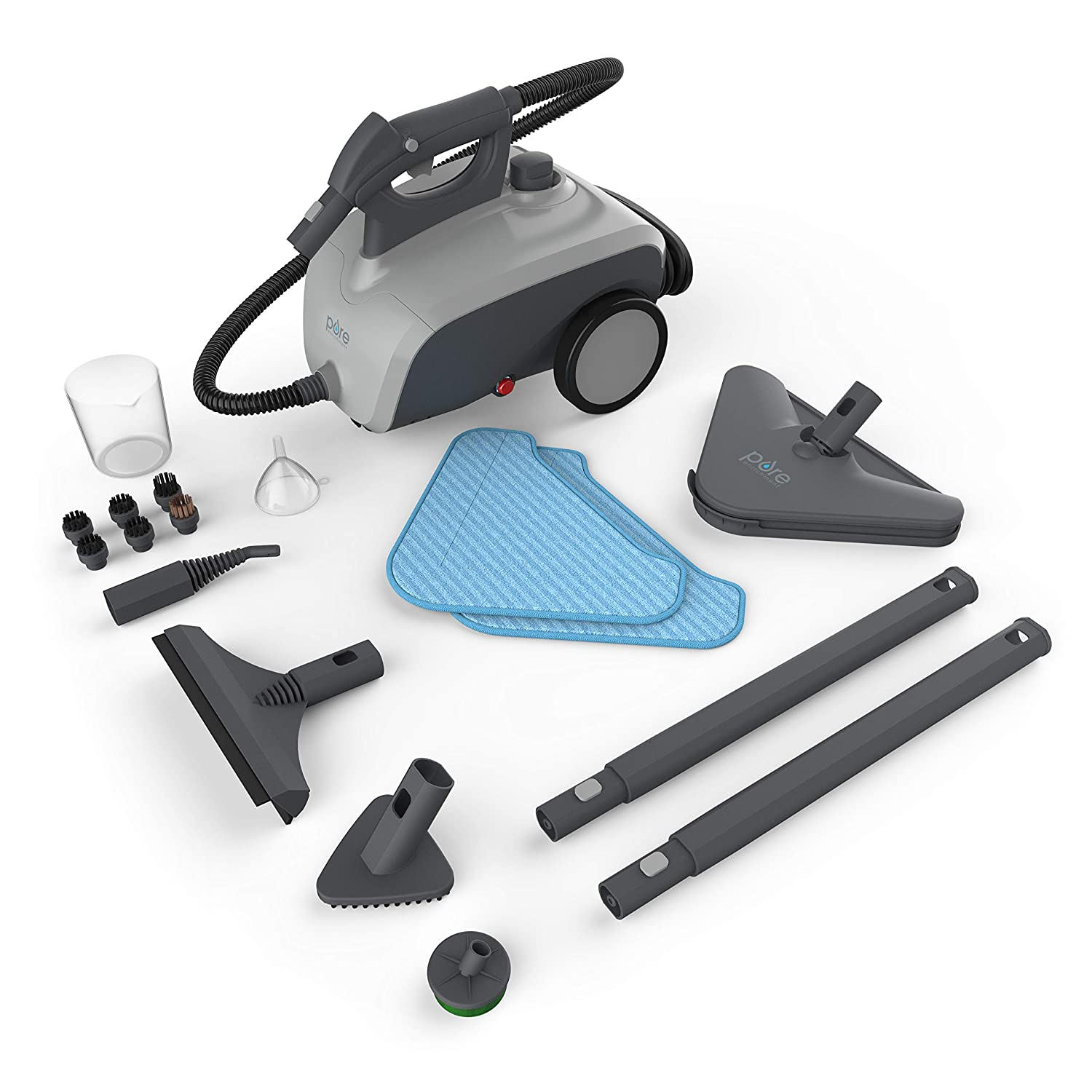 Windows Vehicles and More 18 Accessories for Deep Cleaning Floors 1500-Watt Multi-Purpose Household Steam Cleaning System BBQ Grills Pure Enrichment PureClean XL Rolling Steam Cleaner Ovens