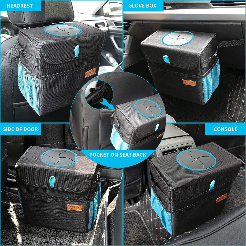 Quarkace Auto Mülleimer Zusammenklappbarer Auto Mülleimer Mit Deckel Abnehmbarer Und Auslaufsicherer Liner Zum Einfachen Reinigen Und Entleeren Von Müll Blau Auto