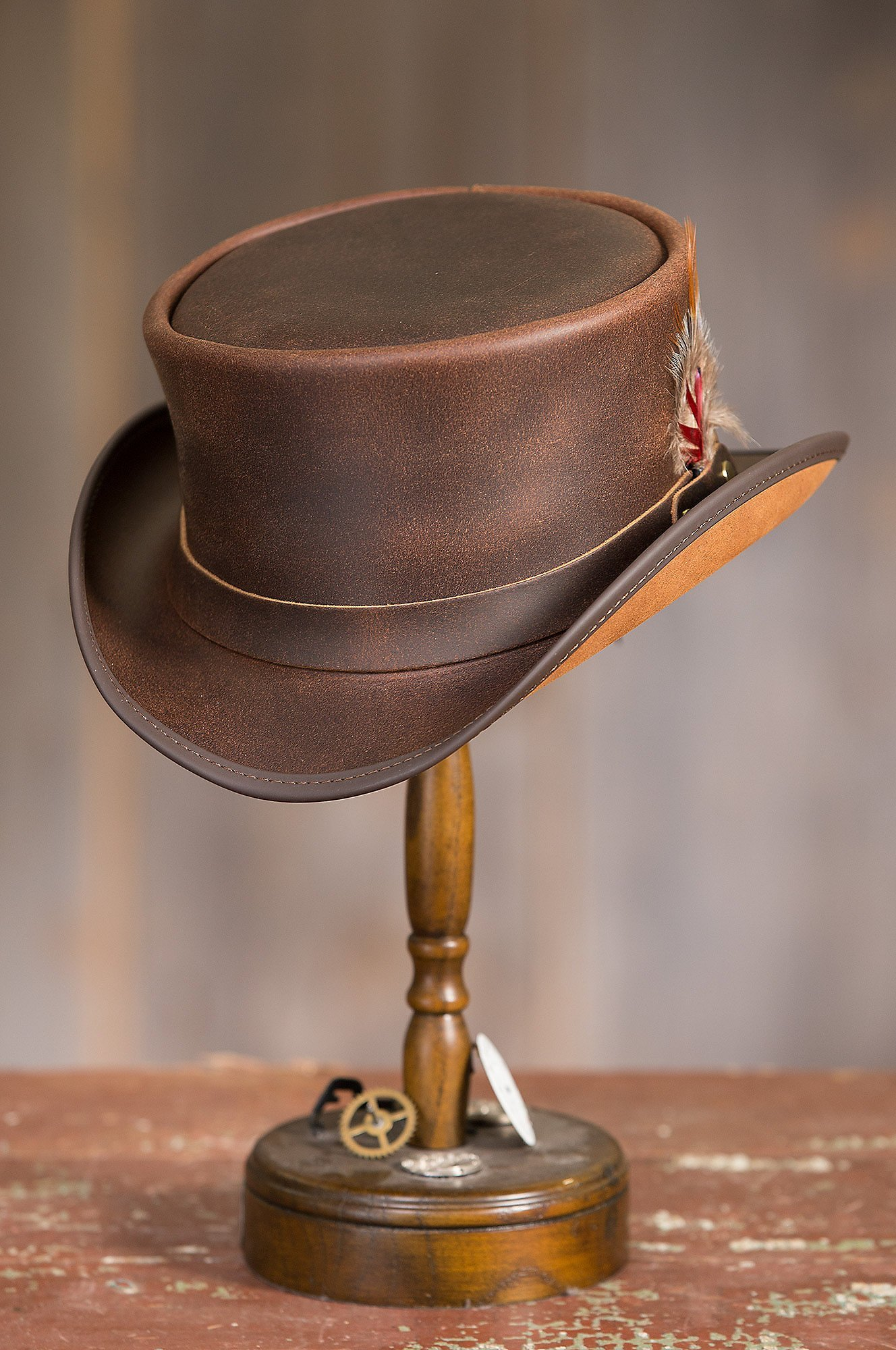 Overland Sheepskin Co. Steampunk Victorian Marlow Leather Top Hat, Brown, Size Medium (7) by Overland Sheepskin Co (Image #3)