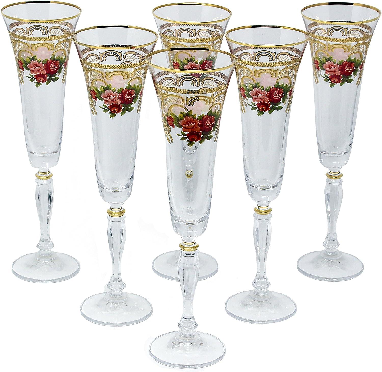 Glazze Crystal APP-081-GL APPALACHIA Gold Champagne Flute 10,