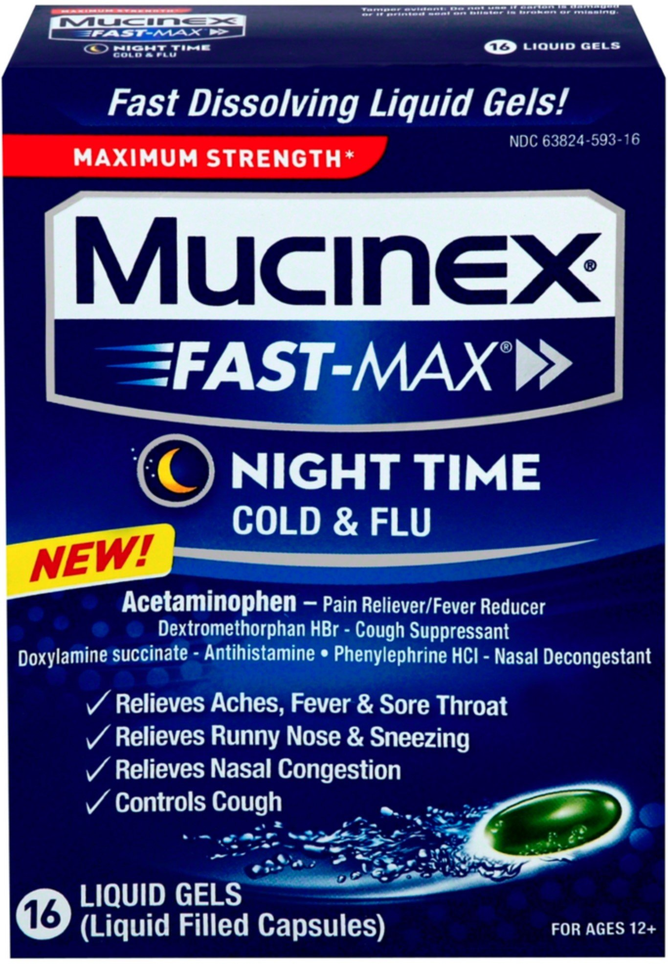 Mucinex Fast-Max Night Time Cold & Flu Liquid Gels 16 ea (12 Pack) by Mucinex