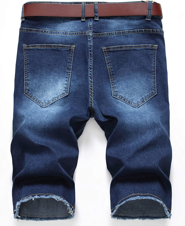 Men/'s Moto Biker Ripped Distressed Jeans Slim Fit Denim Shorts with Broken Hole
