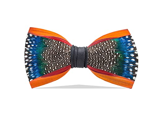 5eb16cf89570 Image Unavailable. Image not available for. Color: Brackish Men's Mill Pond  Handcrafted Pheasant/Guinea/Peacock Feather Bow Tie ...