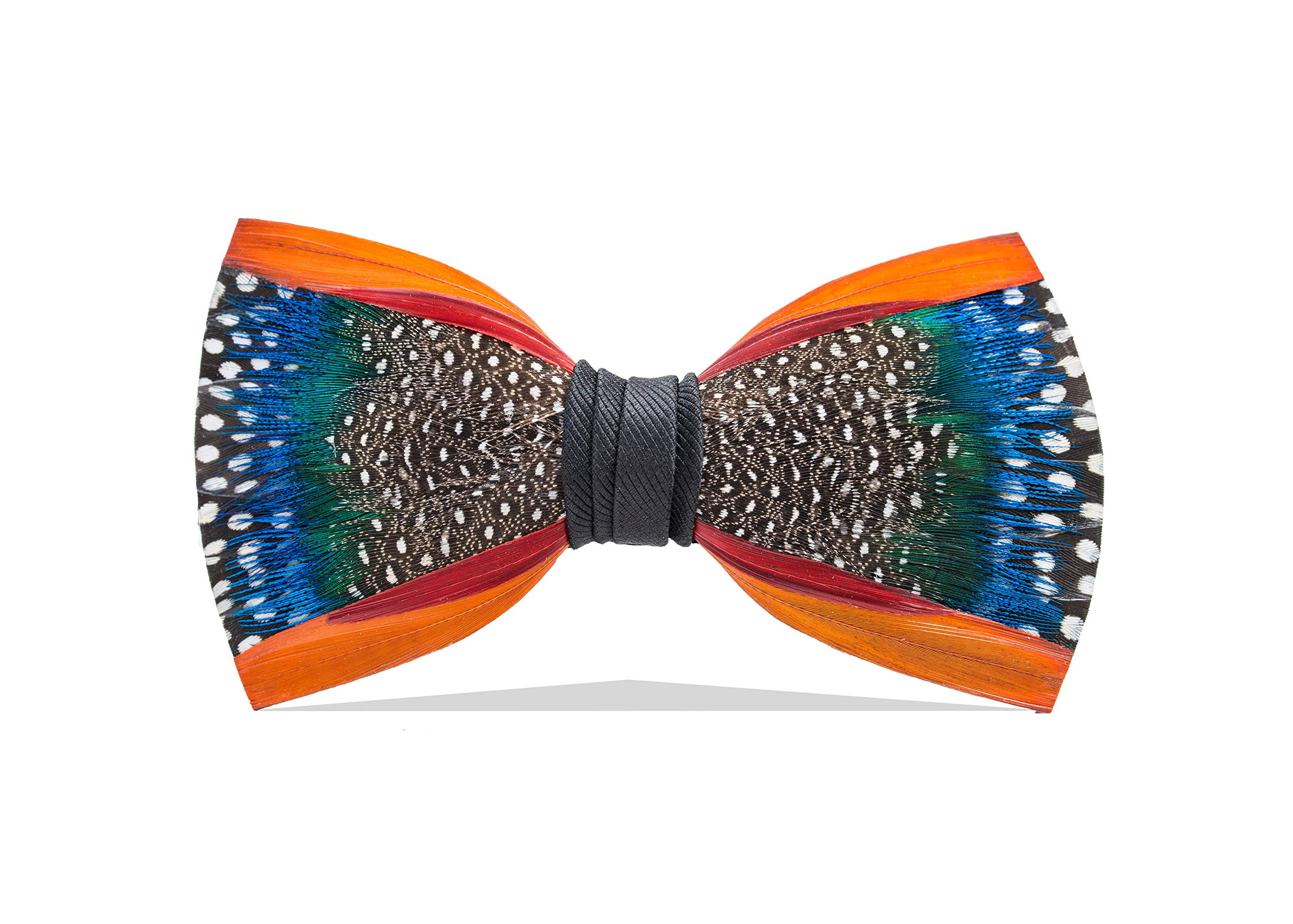 Brackish Men's Mill Pond Handcrafted Pheasant/Guinea/Peacock Feather Bow Tie (274-BRK)