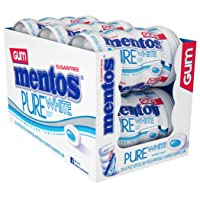 Mentos Pure White Sugar-Free Chewing Gum With Xylitol, Sweet Mint, Halloween Candy, Bulk, 50Piece Bottle (Pack Of 6)