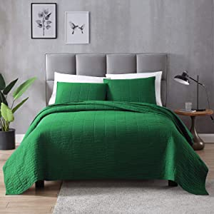 EXQ Home Quilt Set Full/Queen Size Green 3 Piece,Lightweight Microfiber Coverlet Modern Style Stitched Quilt Pattern Bedspread Set
