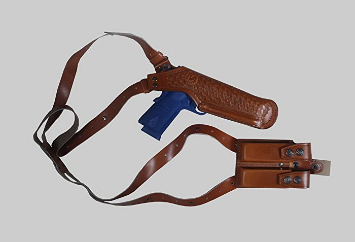 "K447 Basketweave Vertical Shoulder Holster with Double Magazine Pouch for Beretta CZ 75 Browning HP Sig Sauer P226 with 4"" Barrel Right Handed Handmade!"
