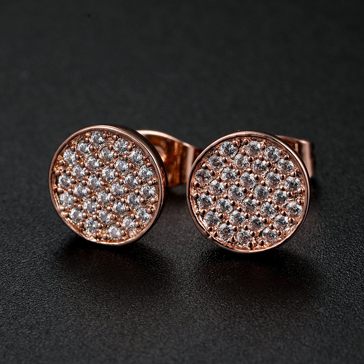 Zhang Trading 18K Gold Plated Full Micro-Inlay CZ Stud Earrings for Fashion OL