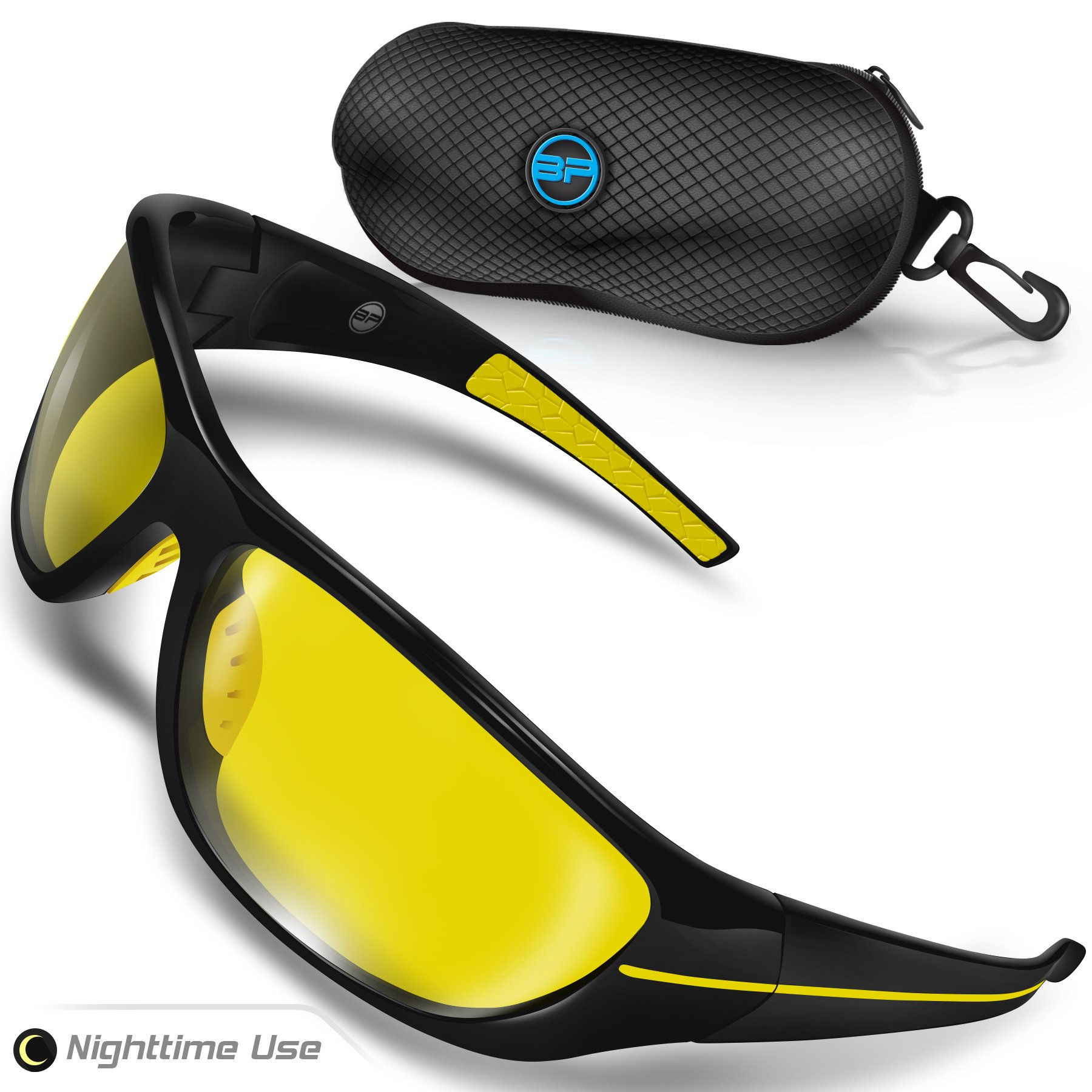 BLUPOND Night Driving Glasses for Men/Women - Semi Polarized Yellow Tint - TAC HD Vision for Motorcycle Riding - Chopper by BLUPOND