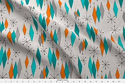 Mid Century Modern Fabric Diamond Pattern By Printed