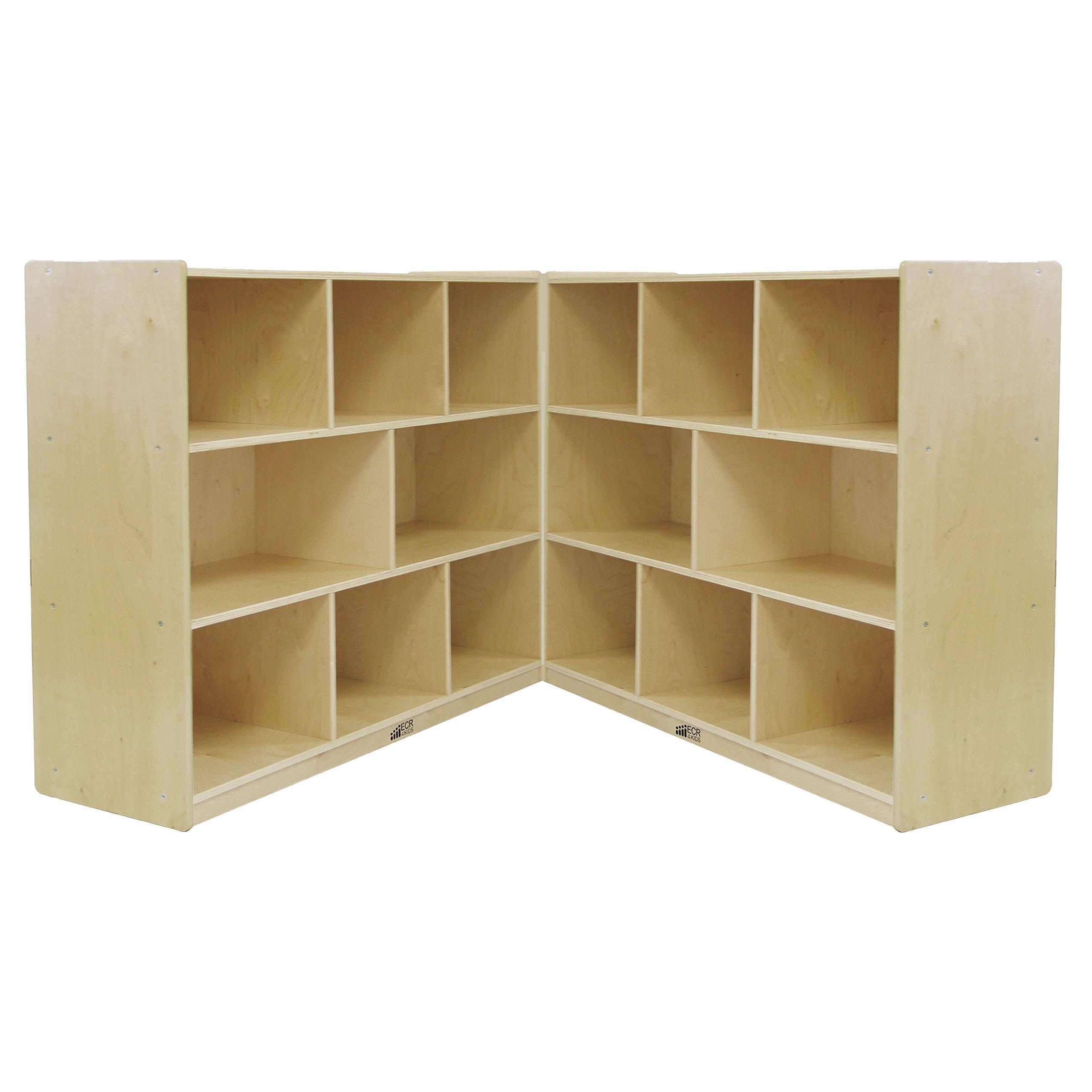 ECR4Kids Birch School Classroom Fold & Lock, 8-Section Storage Cabinet, Natural, 36'' H
