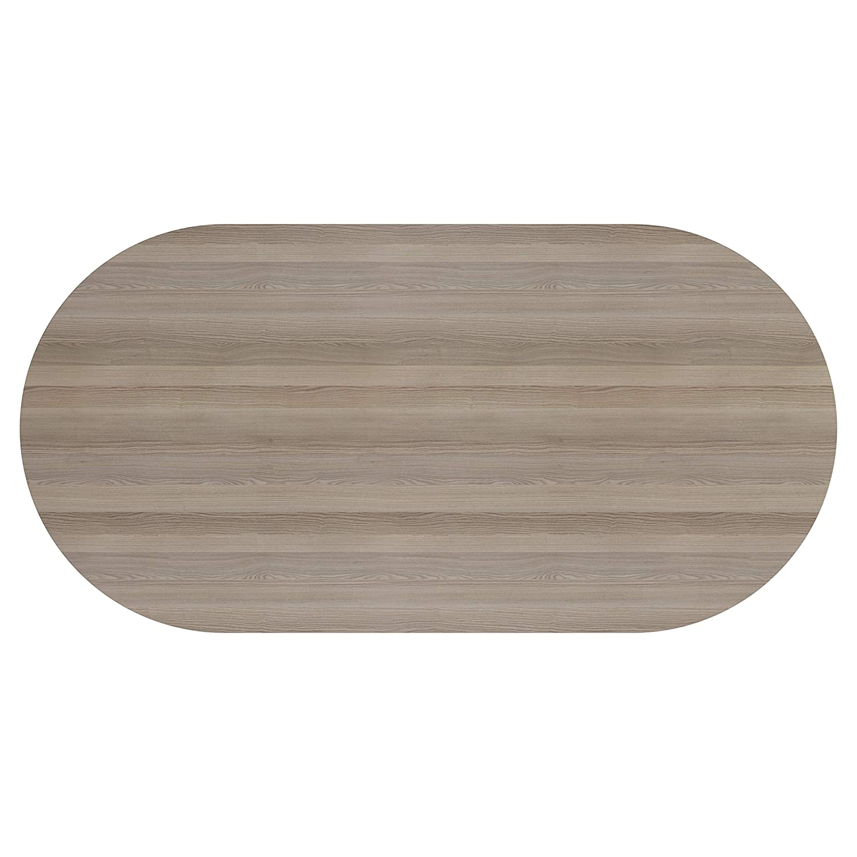 180 cm Office Essentials D-End Meeting Table Grey Oak